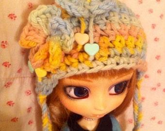Hearts & Flowers Earthy Pastel Crochet Cap for Pullip
