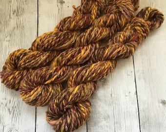 Hand Spun Yarn - Bulky - Rusty Autumn - Baby Alpaca/Merino/Silk/Sparkle 120 yds avail - 3 skeins - (HS0157)