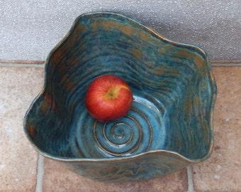 Centrepiece decorative dish fruit bowl wheel thrown stoneware handmade ceramic handthrown pottery