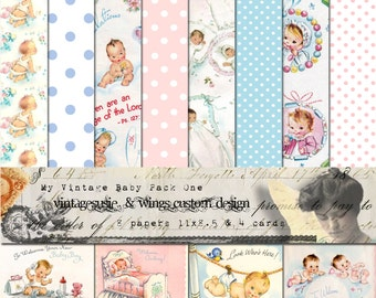 Vintage 1950's NEW BABY Digital Scrapbook Paper Pack 11 x 8.5 - 8 Papers & 4 Cards - Instant DIGITAL Download