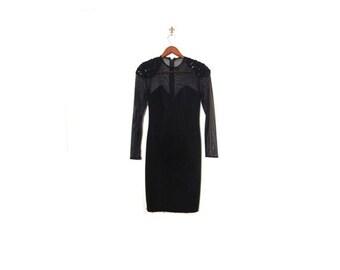 BTS SALE Vintage 90s Sheer Stretch Black Body Con Sequin Cocktail Mini Dress women small