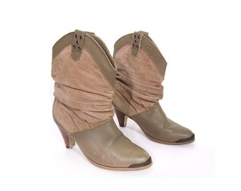 BTS SALE SALE Vintage 80s Taupe Suede and Leather Short Slouchy High Heeled Ankle Boots 6.5 7