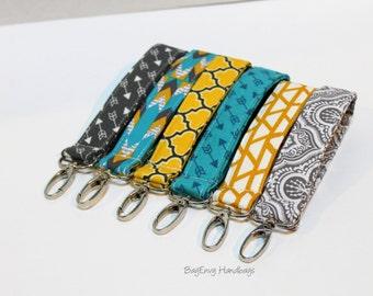 Key Chain / Key Fob - Swivel Clasp Key Wristlet - Aztec / Arrows  - Choose Your Fabric - Sale