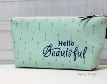 Hello Beautiful... Embroidered Mint and Gold Arrow  Make Up Bag