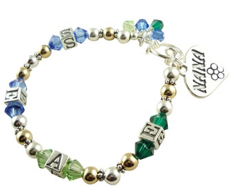 Bracelet for Nana. Custom designed just for her with her grandchildren's birthstones and initials or names. In 14k gold and silver any size