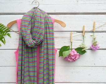 Stripe Scarf, Jersey Scarf, Long Scarf, Pink and Brown Scarf, Wrap, Shawl, Oversized Scarf, Fall Scarf, Winter Scarf, Jannysgirl