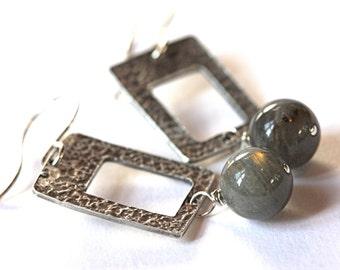Labradorite sterling earrings rectangular