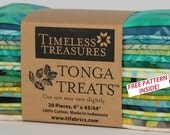 "Tonga Treats Lagoon Batiks  6 pack 20 6"" strips 100% cotton fabric for quilting Timeless Treasures"