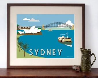 Retro Travel Poster Style Print of Sydney Harbour
