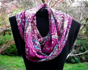 Infinity Scarf, Circle Scarf, Silky Infinity Scarf, All Season Scarf in Paisley Purple Pattern