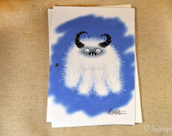 Blank Greeting Card - Yeti Meets a Bee Illustration