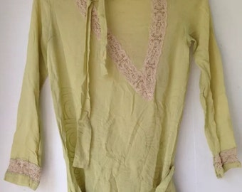 Antique Ethereal Ecru Victorian Embroidered Blouse 1900's Seafoam Green