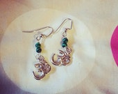 Silver and Malachite Ohm earrings