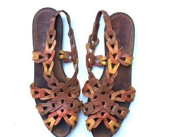 Summer Sale Leather Link Sandals, BOHO Leather Sandals Woven Leather Leather Flats, Summer Sandal, 70s Sandals, Slingback Hurache US 8 EU 39