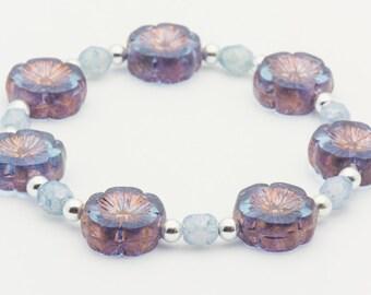 Blue Hawaii |  Blue Stretch Bracelet | Boho Elastic Bracelet | Flower Cute Bracelet | Layering Bracelet | Bracelet - S, M, L - 1BRC0004SS