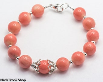 Salmon Bamboo Coral Gemstone Sterling Silver Bracelet