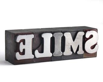 SMILE - 72pt Vintage Metal Letterpress