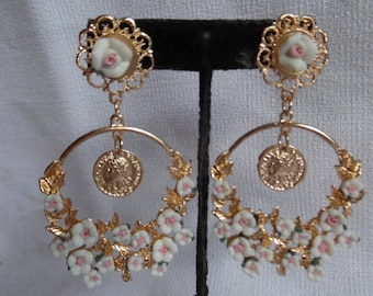 Romantic pink flower earrings