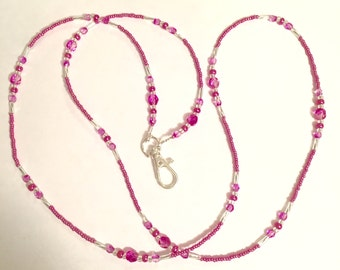 Hot Pink Glass Beaded Lanyard ID Tag Holder