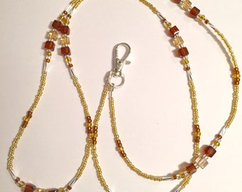 Topaz and Gold Glass Beaded Lanyard ID Tag Holder