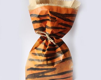 Tiger Print Paper Party favour bags, hand painted