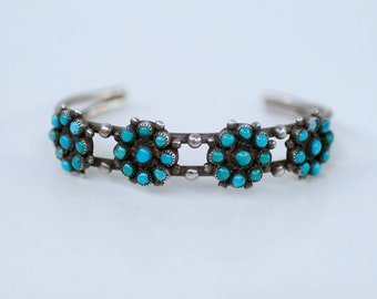 Early vintage Zuni snake eye turquoise sterling cuff / 1940s 30s Native American silver inlay turquoise stone bracelet