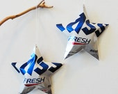 Cass Imported OB Oriental Brewery Stars, South Korean Beer Ornaments Aluminum Can Upcycled White and Blue