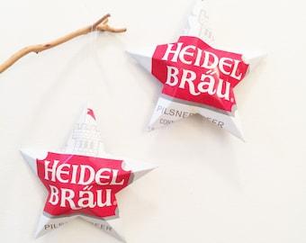 Vintage Heidel Brau Pilsner Beer Can, Set of 2 Stars, Recycled Aluminum Can, Beer Can Stars