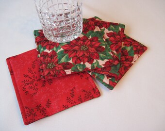 Red Christmas Coasters Red Poinsettia Mug Rugs Red Coasters Poinsettia Christmas Coasters Elegant Christmas Coasters Christmas table decor