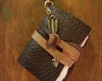 Mini leather bound journal necklace for spontaneous soul searching or brilliant ideas!