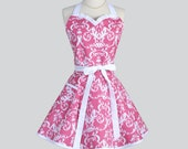 Sweetheart Retro Womans Apron - Flirty Cute Kitchen Cooking Apron in Vintage Fuchsia Pink and White Damask Full Hostess Womens Aprons