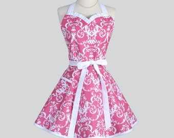 Sweetheart Retro Apron - Fuchsia Pink and White Damask Womens Vintage Style Full Hostess or Wedding Bridal Gift to Personalize or Monogram
