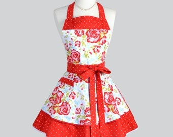 Ruffled Retro Aprons - Cute Flirty Full Vintage Style Kitchen Womans Apron Primrose Red Teal Floral with Polka Dots Womens Apron Personalize