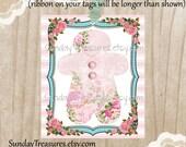 3 Pink Aqua Gingerbread Man Girl Tags / Pink Roses / Retro Vintage Christmas / Favor Bag Gift Tags Label Ornament / 3 DayShip (ref-ts)