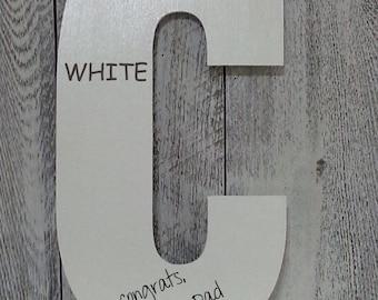 LARGE Alphabet WOOD Letters / 13 INCH / Wedding Alternative Guest Book / Home Decor a b c d e f g h i j k l m n o p r s t u v w / Pick Color