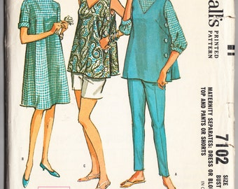 Vintage 1963 McCall's 7102 Sewing Pattern Misses' Maternity Dress or Blouse, Top and Pants or Shorts Size 14 Bust 34