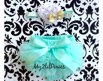 BABY BLOOMER and HEADBAND Set-Ruffle Bum Baby Bloomer,mint tutu bum ,mint, white and Gold ,newborn bloomer,baby girl photo prop-my2lilpixies