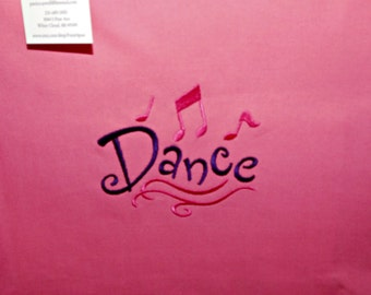 """Embroidered dance bag - """"Dance"""" on pink canvas with purple straps"""