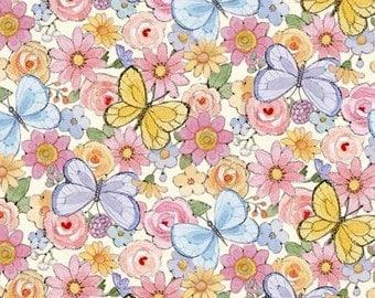 Blue Sunbonnet Emma & Friends  477-CRE  Cotton Fabric Ami Moorehead Cream Floral and Butterflies