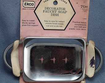Mid-Century Chrome Soap Dish Unused in Pkg Atomic Ekco