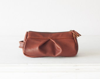 Whisky Brown leather makeup bag, accessory bag pencil case zipper pouch travel case jewellery case - Estia Bag