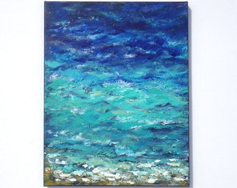 Dark blue ocean painting, navy toned beach painting 11x14 with foam spray texture