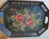 Vintage Black Metal Tole Tray with Handpainted Roses and Flowers