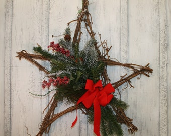 Christmas Twig Wreath, Primitive Wreath, Christmas Wreath, Twig Berry Wreath, Primitive Christmas Decor, Winter Wreath, Holiday Berry Wreath