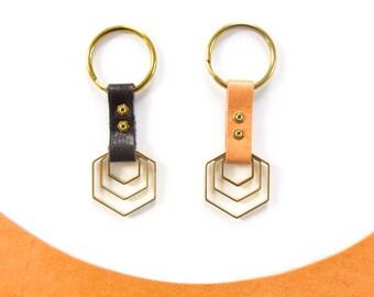 Brass Hexagon Leather keychain - Centric