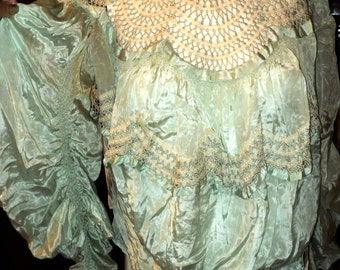 FINAL SALE Edwardian Silk Bodice Aqua Scallop Design Ruched Sleeves Lace Mesh Neckline Late Victorian to 1900's Large Size Display