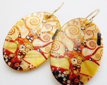 Golden Swirly Trees Gold Filled Decoupage Oval Earrings EE Designs