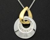 Vintage Rhinestone Necklace, MIxed Metals Goldtone Silvertone, Vintage Necklace, Rhinestone Pendant, SAQ Silvertone Chain Pendant Necklace