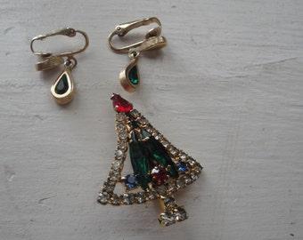 Vintage Christmas Tree Rhinestone Brooch Earrings Clip