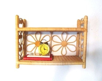 Vintage Natural Wicker and Wood Decorator Shelves, Boho, Flowers, Hearts, Scrolls